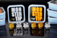 "Vapemonster - ""Monster Tip, Ultem"" 510 Drip Mouth Piece. PMMA/acrylic drip tips shown in this photo are not included in this sale. This sale is only for the Ultem drip tip."
