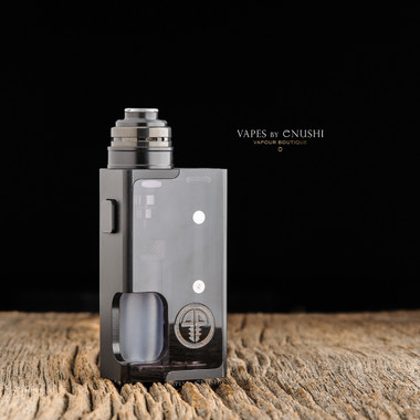 """Proteus Progeks - """"SQNK Beater"""" Black Delrin. Shown with Black SQUI RDA attached for demonstration purposes only. This sale is for the mod only, and does NOT include the atomizer."""