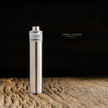 """Ohman Bmods - """"DripStick Reborn 510 Shorty Cap, Clear Frosted Polycarbonate"""" shown attached to DripStick Reborn along with a drip tip for demonstration purposes only. This sale is ONLY for the 510 Shorty Cap, and does NOT include the mod, deck, nor drip tip."""
