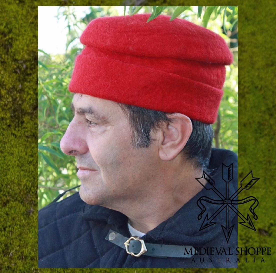 15th Century Felt Hat (Red)
