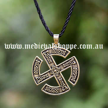 Sun Wheel Pendant with Celtic Knotwork