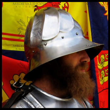 Gothic Era Infantry Helmet. Fluted kettle hat helmet, end of 15 C. style, polished (14g)