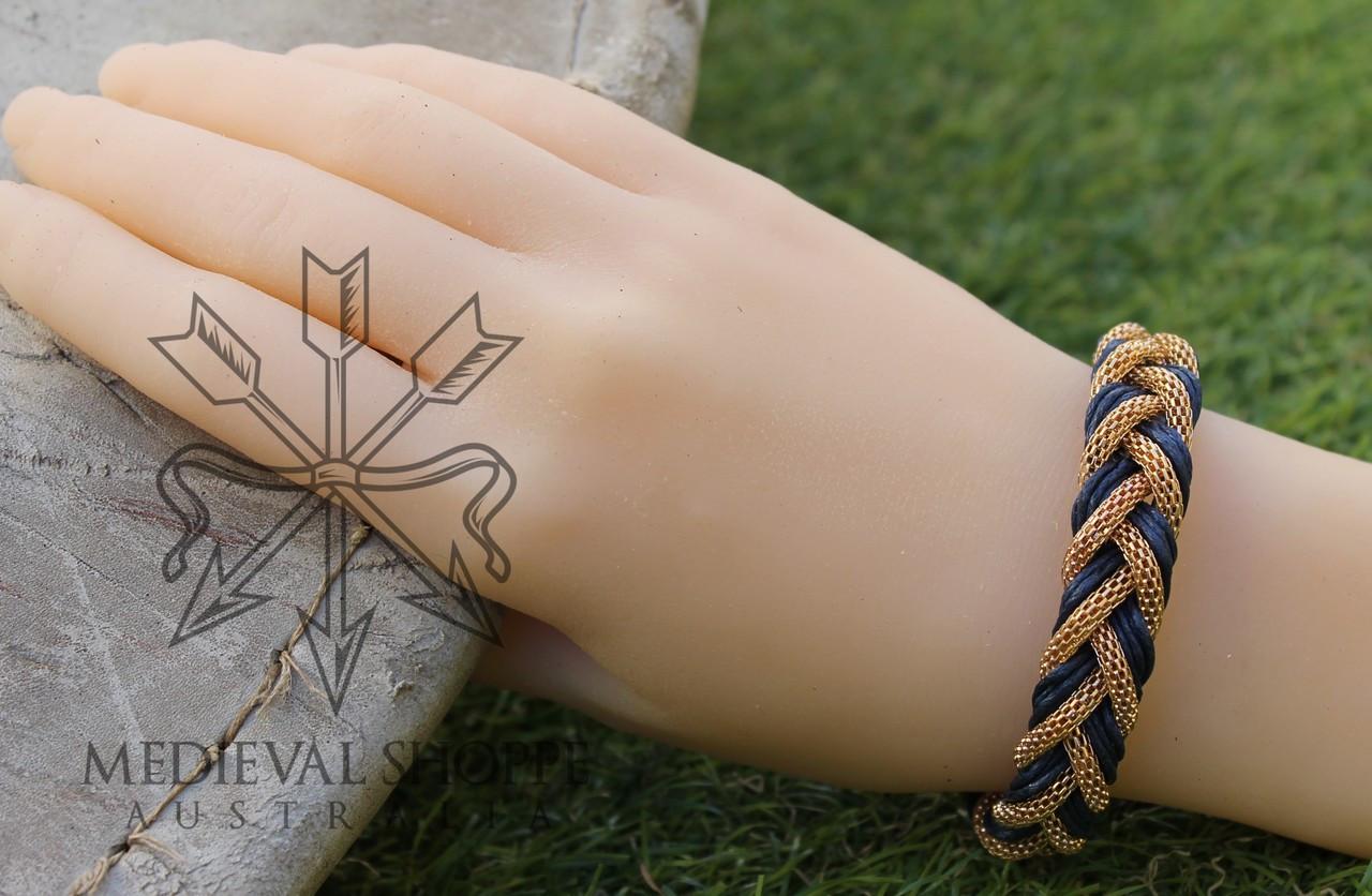 Gold & Blue Braid Medieval Bracelet