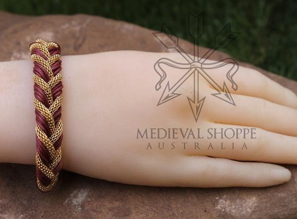 Gold & Red Braid Medieval Bracelet