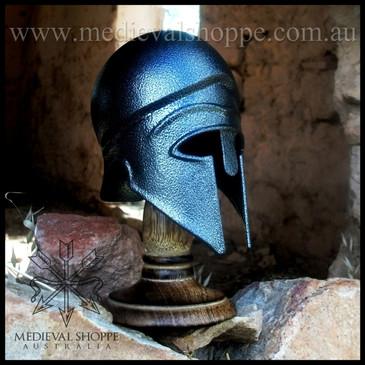 Miniature Corinthian Helmet & Wooden Stand