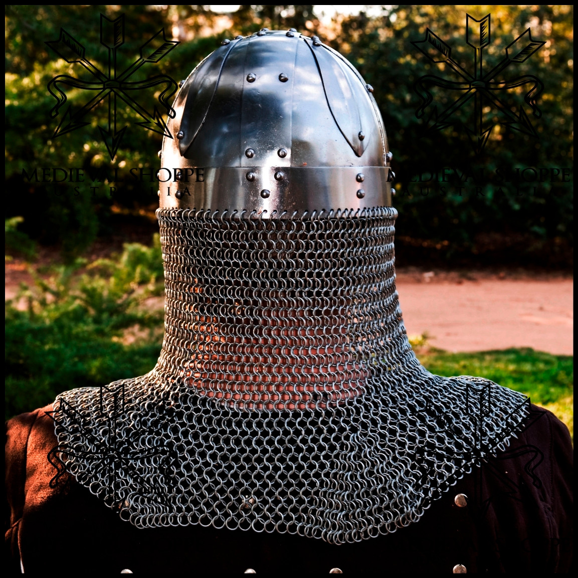 Viking Era Ocular Spangenhelm Helmet with Chain Mail Curtain