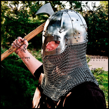 Viking Era Ocular Spangenhelm Helmet with Chain Mail Curtain (16g)