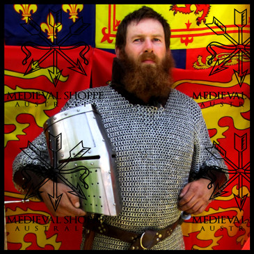 Extra Large Size Haubergeon, Aluminium Chain Mail Shirt, Riveted with Alternate Solid Rings