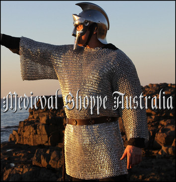 XXL Size Haubergeon, Aluminium Chain Mail Shirt, Riveted with Alternate Solid Rings