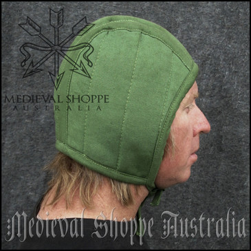 Green Medieval Arming Cap - Padded Coif