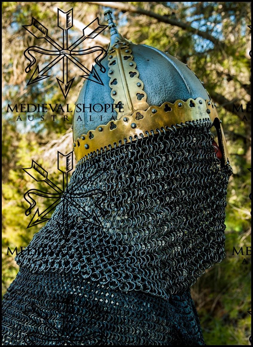 Gnëzdovo Type 2 - Russian Slavic-Varangian Viking Helmet 16g, Riveted Aventail