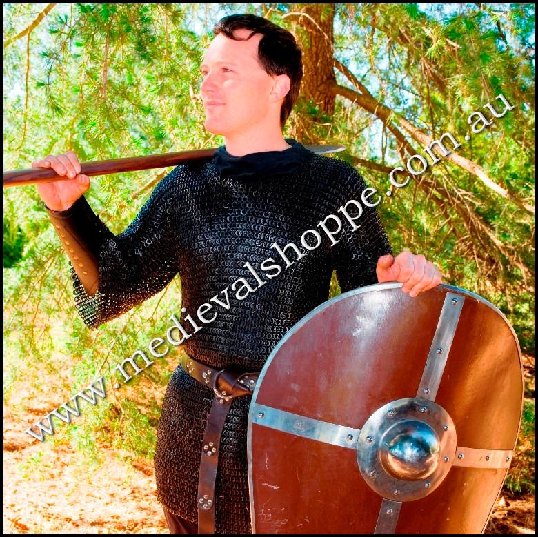 Brown Leather Studded Segmented Medieval Belt