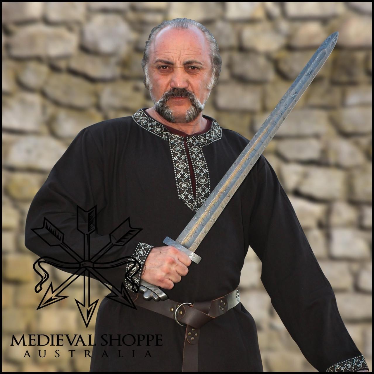 Brown Leather Studded & Segmented Medieval Belt