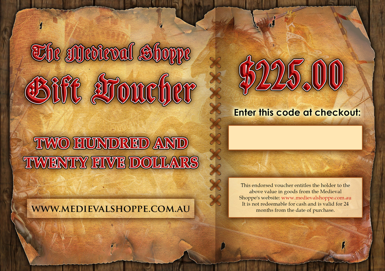 Medieval Shoppe $225 Gift Voucher