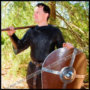 Extra Large, Black Chain Mail Shirt (alternate flat riveted & solid rings)