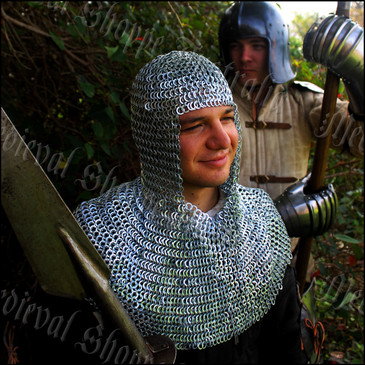 Chain Mail Coif (Hood) Butted Flat Rings 10mm 16g Maille
