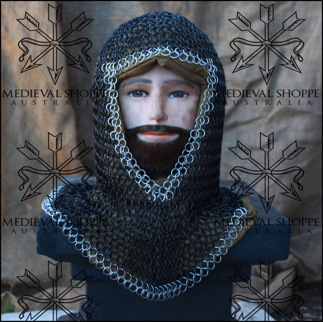 Black Chain Mail V-Face Coif With Trim - Butted 10mm 16g Maille
