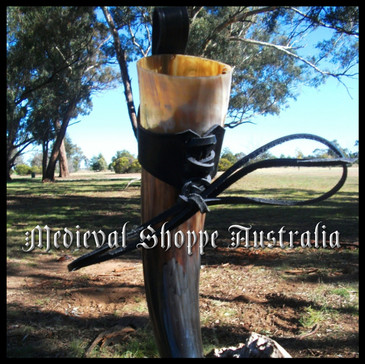 Drinking Horn with Black Leather Belt Holster