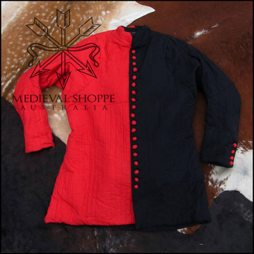 XXL Late Medieval Red/Black Gambeson