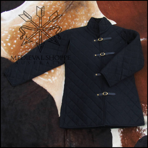 L Buckle-Up Diamond-Quilted Black Gambeson