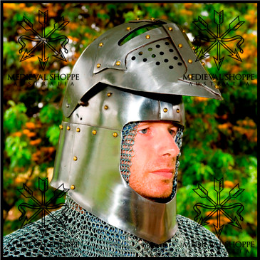 Small Size Stainless Steel 14th Century Bascinet. Medieval Knight's Helmet (16g) Chinstrap & Leather Liner