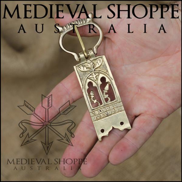 Ornate Brass Medieval Belt Buckle (11 x 4.3cm)