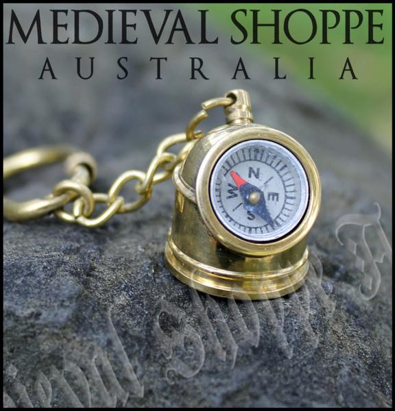 Working Compass Brass Keychain