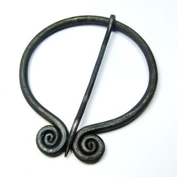 Celtic Spiral Penannular Brooch - Medieval Cloak Pin