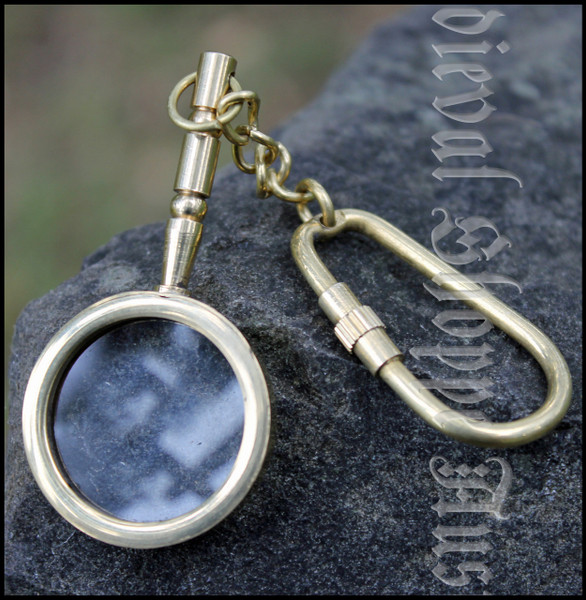 Brass Functional Magnifying Glass Keychain - Keyring