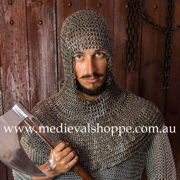 Wedge Riveted & Alternate Solid Rings, Chain Mail Coif