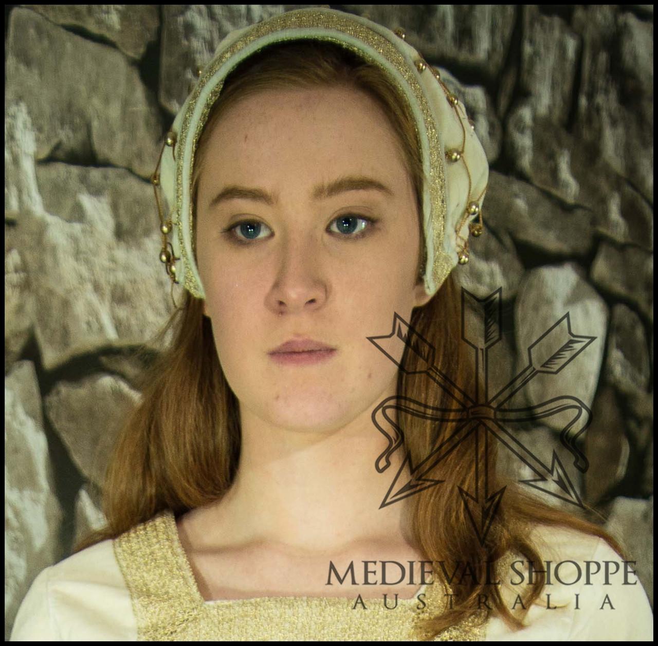 Noblewoman's late medieval cap/hairnet (white)