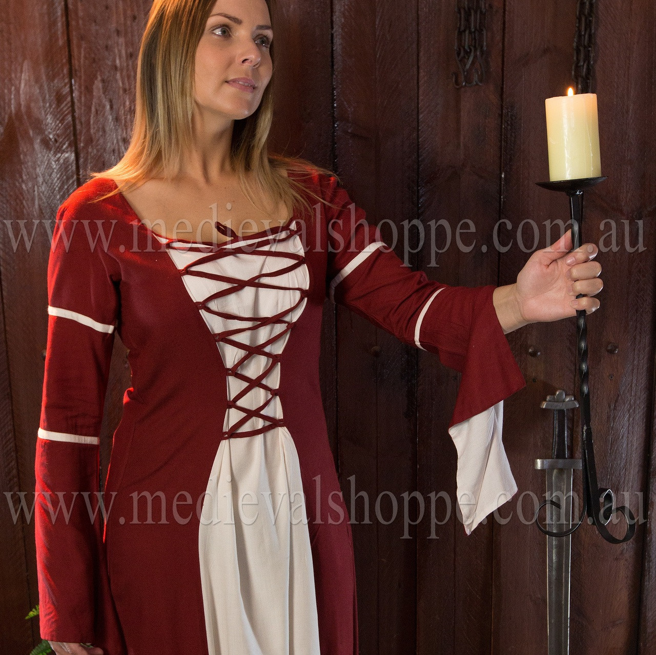Red & White Medieval Dress - Gown - Renaissance Costume