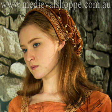 Noblewoman's snood: late medieval cap/hairnet (terracotta)