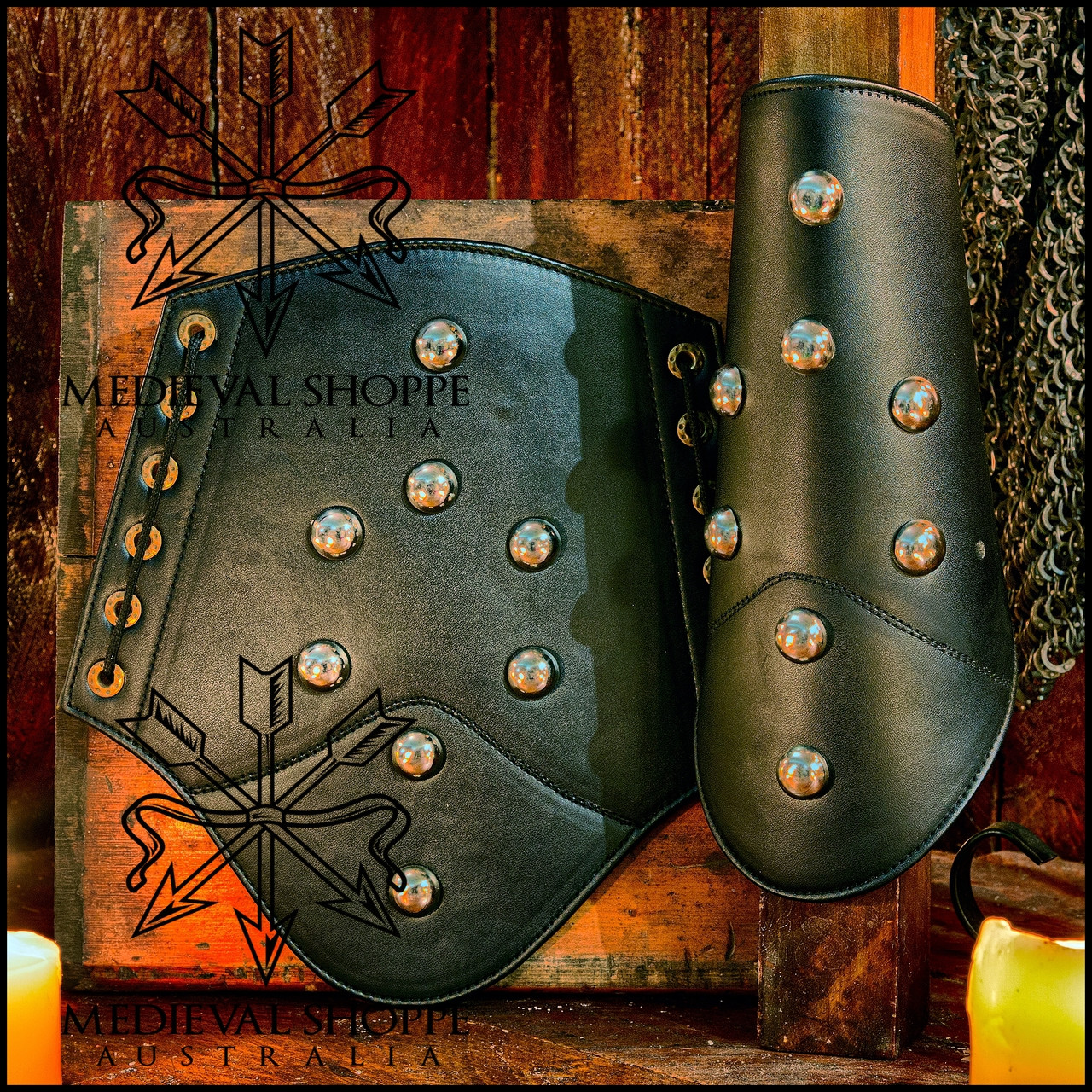 Leather Vambraces with Domed Studs (Arm Guards, Bracers)