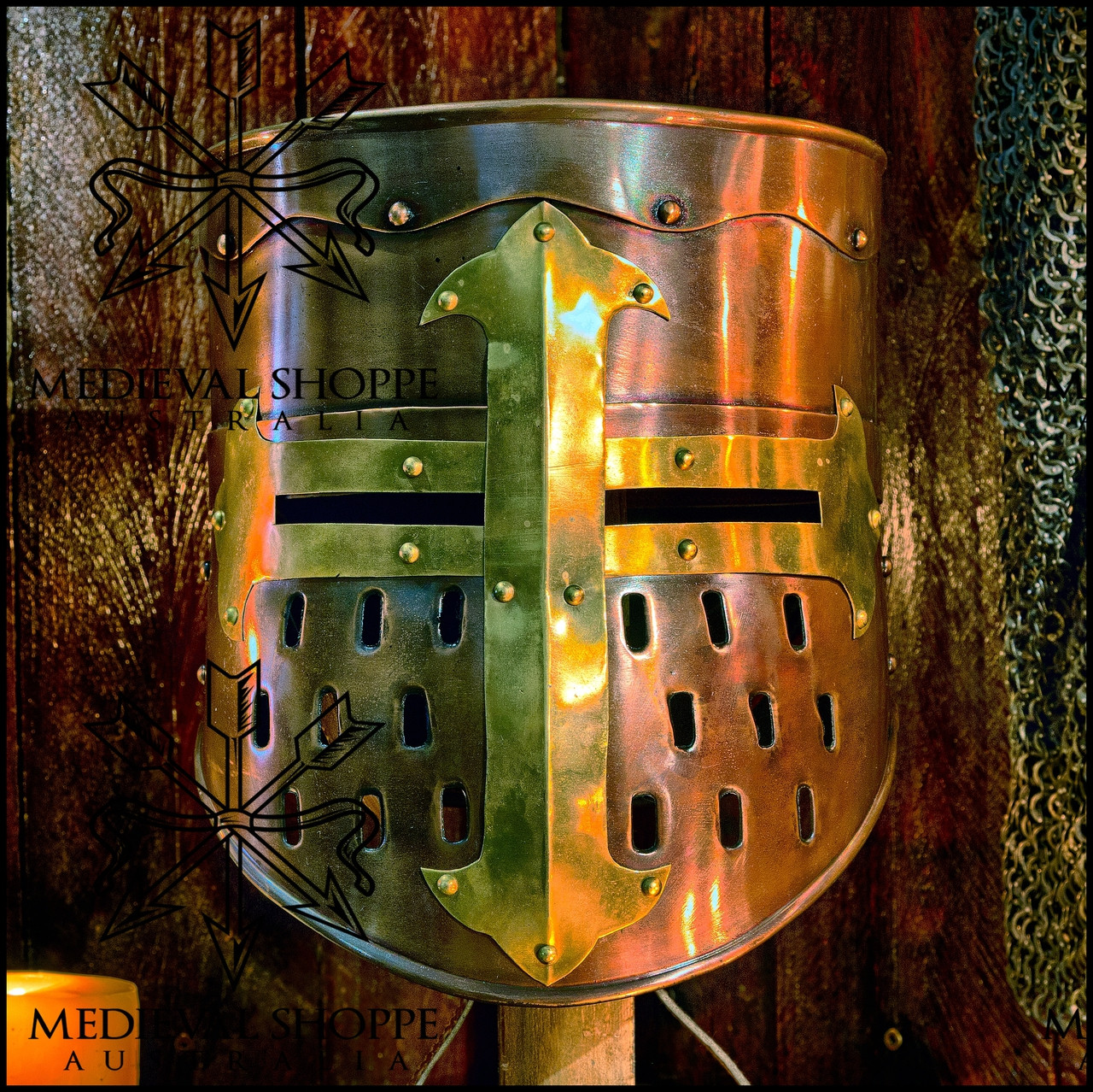 Brass Finish Templar Helm