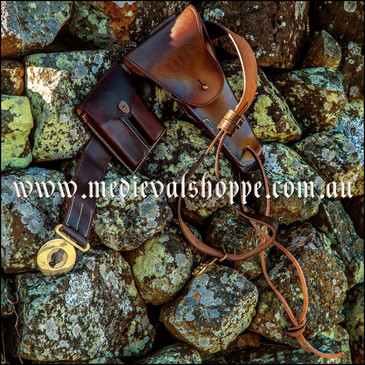U.S. M1916 Colt holster, officer's belt and magazine pouch set