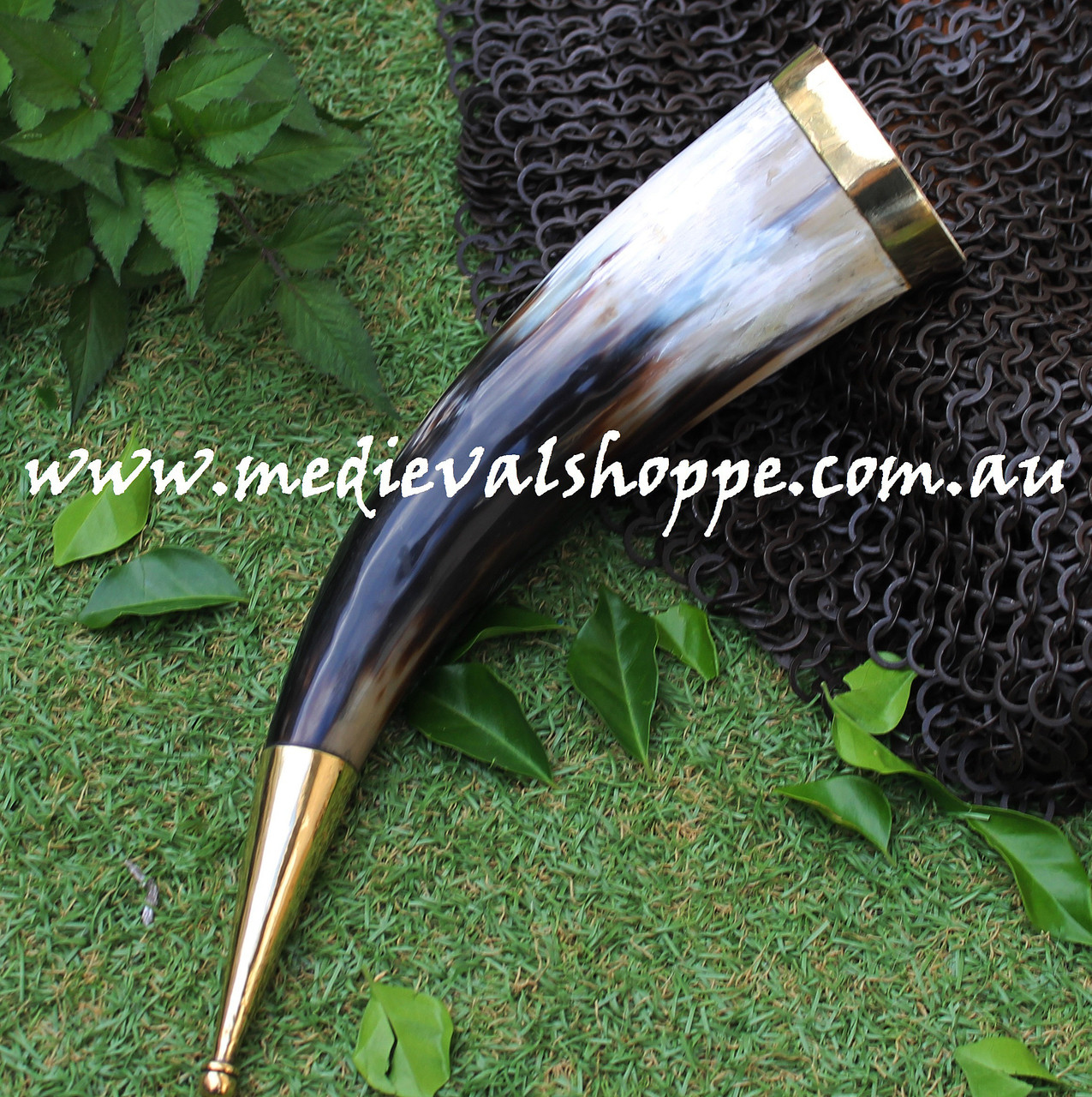 Drinking Horn with Bronze Fittings