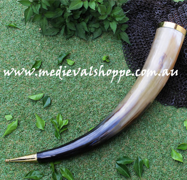 Extremely Large Drinking Horn with Bronze Fittings