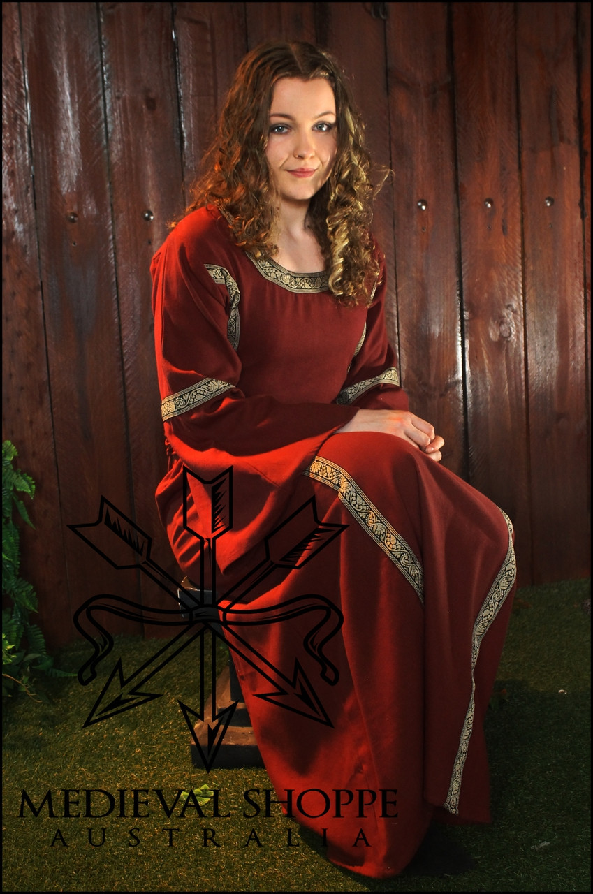 Red Early Medieval Dress - Medium Size 12/14