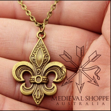 Fleur-de-Lis Pendant & Chain (Antique Bronze Finish)