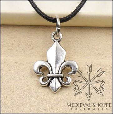 Small Fleur-de-Lis Pendant & Cord (Silver Finish)