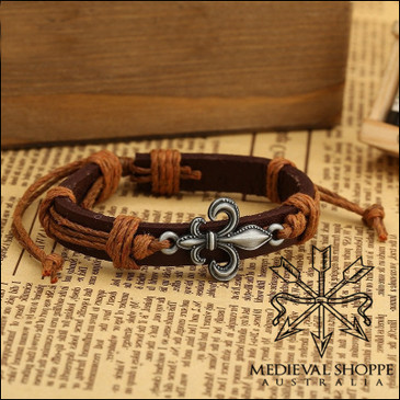 Fleur-de-Lis Bracelet with Light Brown Cordage