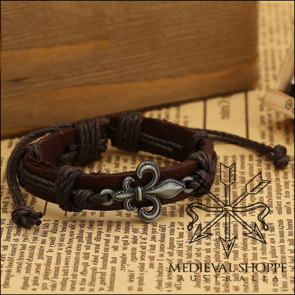 Fleur-de-Lis Bracelet with Dark Brown Cordage