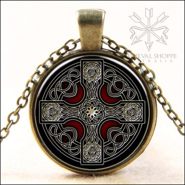 Celtic Cross Glass Dome Pendant