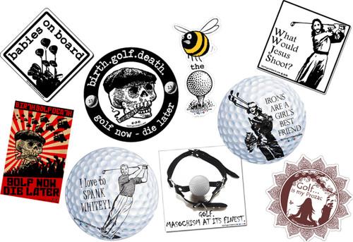 birth.golf.death. Golf Stickers