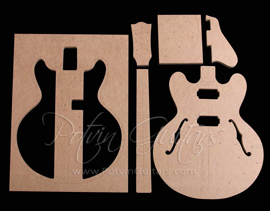 335 style bolt on archtop template set potvin guitars for Guitar f hole template