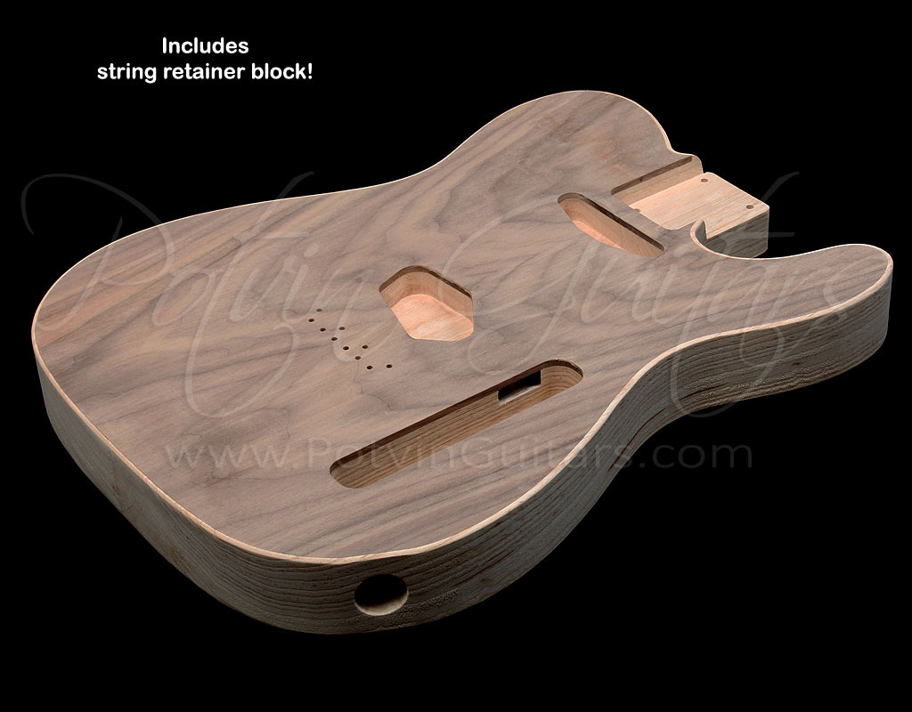 T-Style body #157 Figured walnut top inset on chambered swamp ash
