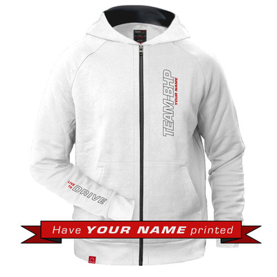Personalized Team-BHP Hoodie (White)