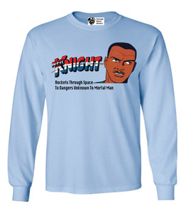 Vintage Black Heroes Men's Long Sleeved T-Shirt - Neil Knight - 2 - Light Blue