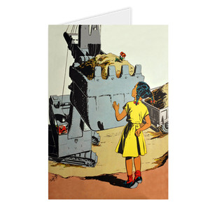 Afrotopia Greeting Cards - Vintage Girl In Yellow - Package Of 10